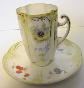 Wonderful 1891 1907 Rosenthal Hand Painted Chocolate Cup And Saucer Germany