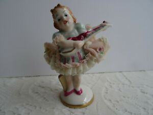 Dresden Figurine Muller Volkstedt Irish Dresden Porcelain Lace Girl Singing
