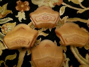 Beautiful Set Of 4 Markel Art Deco Slip Shades Chandelier Sconces Ceiling Light