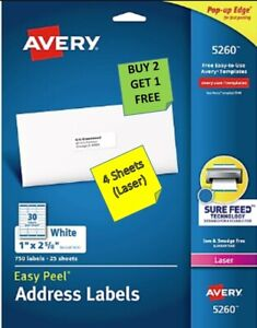 4 Sheets Avery 5260 1 X 2 5 8 White Address Labels laser Buy 2 Get 1 Free