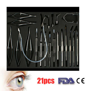 21pcs Stainless Steel Cataract Set Eye Ophthalmic Surgical Instruments Kit