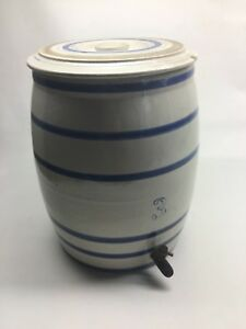 Antique 3 Gallon Stoneware Water Cooler With Lid
