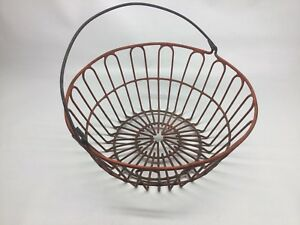 Vintage Red Coated Wire Egg Gathering Basket