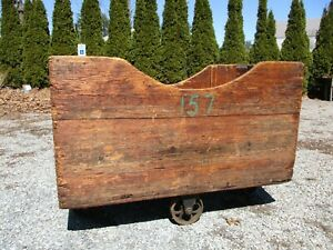 Antique New England Textile Mill Cart Solid Rugged Nice Wood Patina