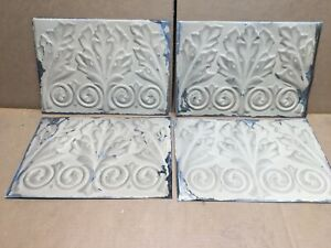 4pc Lot Of 11 By 8 Antique Ceiling Tin Vintage Reclaimed Salvage Art Craft