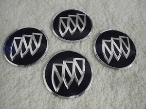 Buick Set Of 4 Rim Wheel Cover Center Cap Hubcap Black Tri Shield Badge Emblems