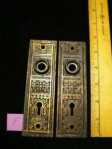 2 Vintage Cast Iron Door Plates Brass Finish Victorian 5 11 16 Long Lot F