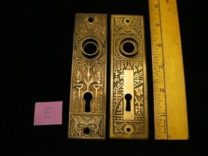 2 Vintage Cast Brass Door Plates Victorian Mismatched Patterns Lot E