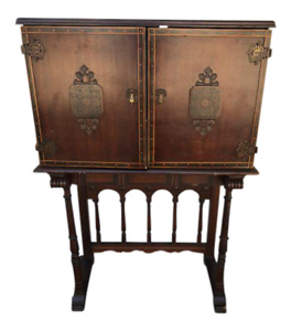 Vintage Mahogany Drinks Bar Cocktail Cabinet On Stand