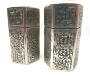 84 Marked Silver Zolotnic Sterling Silver Engraved Salt Pepper Shakers