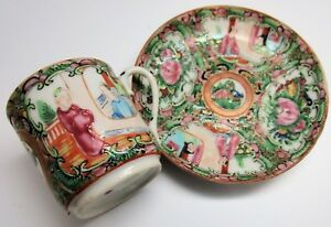 C1910 Chinese Rose Medallion Famille Rose Cup And Saucer