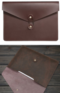 Cow Leather File Folder Pocket Messenger Bag Case Briefcase Handmade Brown Z620