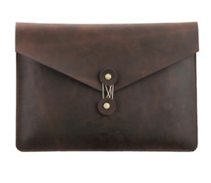 Cow Leather File Folder Pocket Messenger Bag Briefcase Customize Coffee Z620