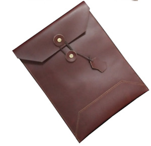 Cow Leather File Folder Pocket Messenger Bag Briefcase Handmade Wine Red Z622