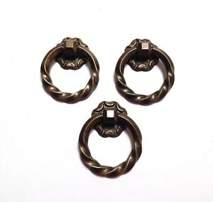 Vtg Ring Drawer Cabinet Pulls 3 Brass Bronze Tone Twisted Retro
