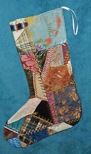 Awesome Antique Vintage Crazy Quilt Christmas Stocking Cutter Quilt Alburt Cq29