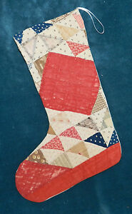 Primitive Antique Vintage Cutter Quilt Christmas Stockings Blue Red 16 39
