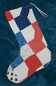Primitive Antique Vintage Cutter Quilt Christmas Stocking Wow 52