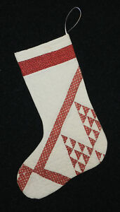 Lovely Red White Antique Vintage Cutter Quilt Christmas Stocking 18 4