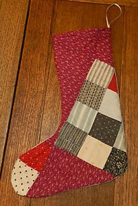 Primitive Antique Cutter Quilt Christmas Stockings Burgundy 4