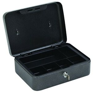 Hercules Cb1007 Key Locking Cash Box With 6 Compartment Tray 9 8 X 7 4 X 3 9