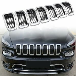 Black Front Honeycomb Mesh Chrome Ring Grill Insert For 2014 2018 Jeep Cherokee