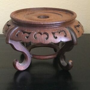 Vintage Antique Asian Brown Chinese Carved Footed Hardwood Stand