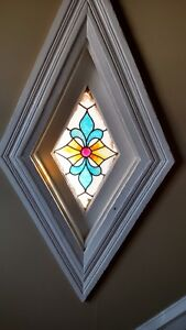Antique Vintage Stained Glass Window Diamond Shape With Frame We Ship