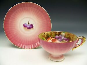 Vintage Hand Painted Fruits Apple Grape Gold Gilt Footed Tea Cup