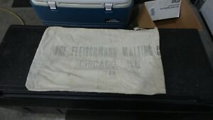 Antique Vintage Grain Sack Pillow Primitive American Malting Fleischmann