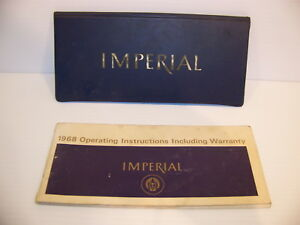 1968 Chrysler Imperial Operating Instructions Warranty Manual Oem