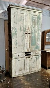 Farmhouse Antique Primitive Early Large Old Step Back Cupboard Cabinet Paint