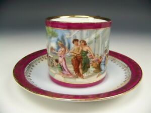 Germany Happy Family Scenic Demitasse Cup Saucer