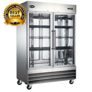 54 In W 47 Cu Ft Two Glass Door Display Commercial Reach In Upright Refrigera
