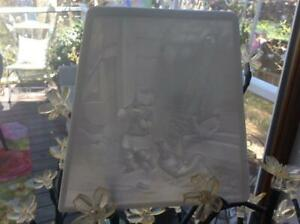 Antique Porcelain Lithopane Panel Ppm 13 Scene Of Little Girl With Chickens