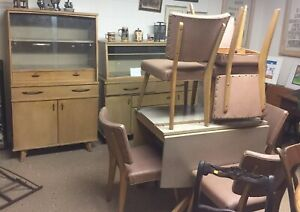 Vintage Meier Pohlmann Furniture Retro Dining Set Hutch Buffet Table Chairs
