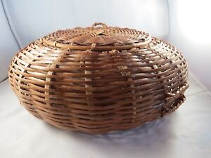 Antique Vintage Lacquered Bamboo Splint Round Flat Disc Sewing Basket W Lid