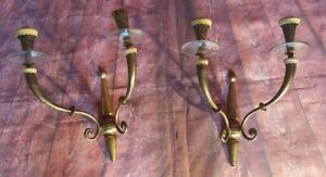 Antique Victorian Edwardian Solid Brass Pair Wall Sconces Glass Light Lamp