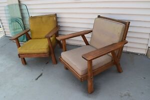 A Brandt Ranch Oak Pair Of Lounge Chairs