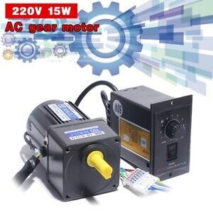 Ac Gear Motor Electric Motor Variable Speed Controller 1 10 125rpm 220v 15w