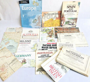 Vtg Lot Of 17 National Geographic Map Europe Greece Poland Spain