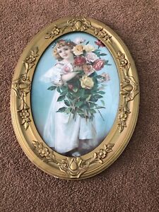 Antique Victorian Gold Wood Floral Gesso Oval Picture Frame Little Girl Shabby