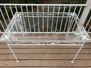 Vintage Wrought Iron Table Glass Top