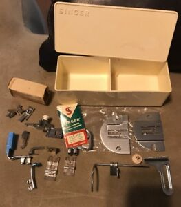 Vintage Plastic Singer Sewing Machine Box With Attachments