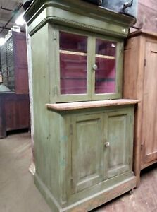 Antique Step Back Cabinet With Large Hidden Compartment In The Top Stepback