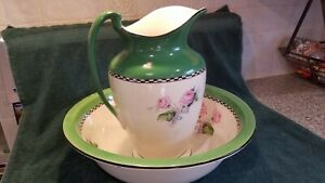 Antique Hand Made Hand Painted Pitcher And Matching Bowl Large Flowered