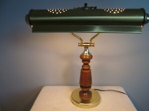 Vintage Brass Walnut Wood Piano Lamp Bankers Library Desk Lamp Organ Light
