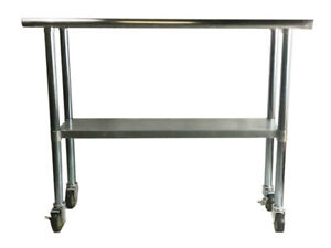 14x72 Stainless Steel Work Prep Table With 4 Casters wheels