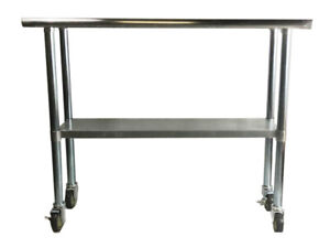 Stainless Steel Work Prep Table With 4 Casters wheels 24x36