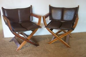 Vintage Pair Of Mid Century Leather Teak Safari Lounge Chairs Arne Norell